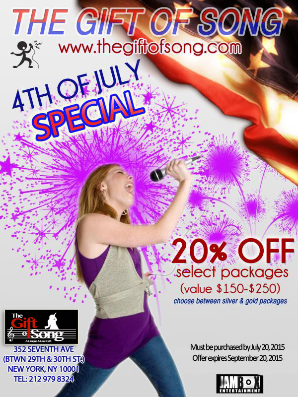 "Looking For Something Fun To Do This 4th of July? Check out ""The Gift of Song"" at JAMBOX!"
